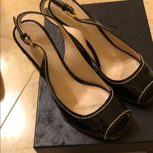 Prada patent peep toe wedge